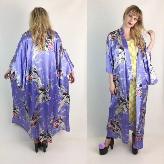 SALE Peacock Printed 100% Silk Japanese Kimono Robe - Pastel Purple Long Authentic Kimono /Wrap Belt  - Women's Lilac Pastel Ceremony Layer