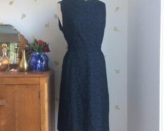 Vintage 60's Black Eyelet Lace Dress / 34 Waist