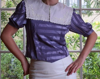 80's Periwinkle Satin Blouse with Lace Doily Bib Collar