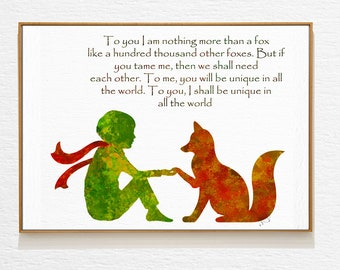 Fox Quote, Little Prince Art, Baby Quotes, Wall Art Prints, Nursery Wall Art Fox, Prince Room Decor, Woodland Print, Forest Friends Nursery