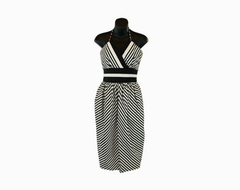 1980s VICTOR COSTA Vintage / Designer Party Dress / Black and White Stripes / Prom Dress / Minimalist / Origami Neckline / Wrap Dress / Hers