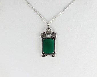 Sterling Silver Chrysoprase and Marcasite Necklace 15 inch Chain Art Deco Victorian Antique Necklace