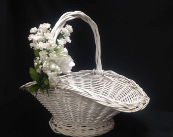 large white wicker basket Easter flower basket wedding basket Victorian shabby farmhouse country French yesteryears BASKET SALE-25% off!