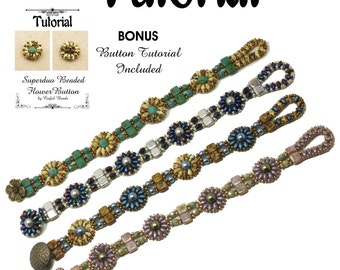 """TUTORIAL - SUPERDUO & CZECHMATE Tile Flower Bracelet - """"Celeste"""" Bracelet - Beaded Bracelet Tutorial - by Cinful Beads -Instant Download"""