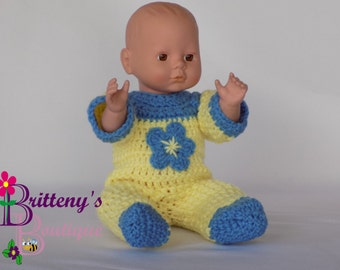 Baby Doll Clothes / Crochet Baby Doll Clothing / Crochet Baby Doll Pajamas / Crochet Baby Doll Blue Flower Pajamas / 13-14 inch