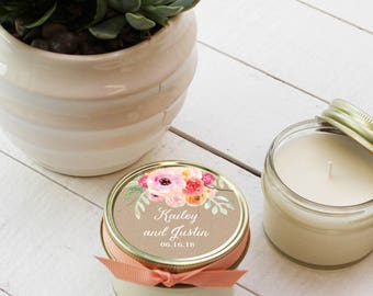Set of 12 - 4 oz Soy Candle Wedding Favors - Bouquet Label Design - Floral Wedding Favors // Wedding Favor Candles // Wedding Favors
