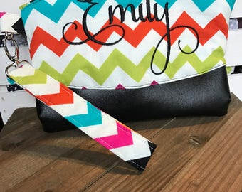 Wristlet, Clematis Clutch, Clematis Wristlet, Makeup Bag, Multi Chevron, Zipper Bag, Evening Bag