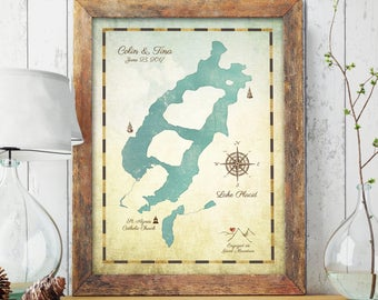 Lake Decor, Lake House, Personalized Lake Map, Lake House Decor, Lakehouse Decor, Lake House Sign, Custom Lake Map, Family Cabin Art
