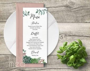Succulent Wedding Menu Printable, Floral Wedding Menu card, Green Wedding Menu, Printable wedding Menu, Modern Wedding Menu, Digital file