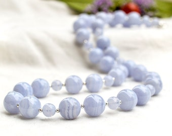 Natural Blue Lace Agate Necklace with 925 sterling silver *Free worldwide shipping*