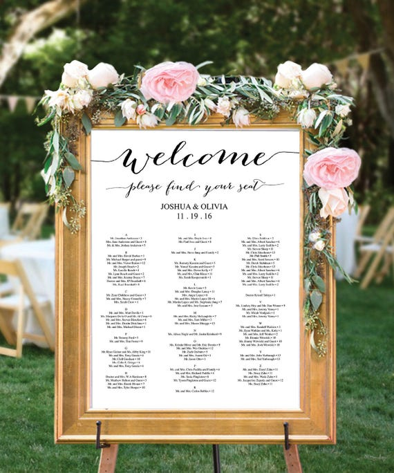 Wedding Seating Chart Editable PDF Table Arrangement Sign