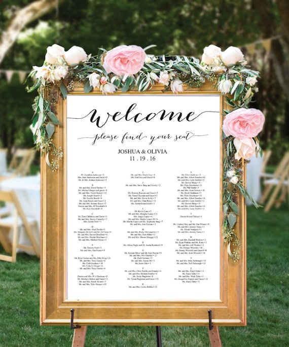 Seating Chart For Wedding: Wedding Seating Chart Editable PDF Table Arrangement Sign