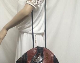 Black brown leather purse ,1980s,80's,round,bag,purse, shoulder bag