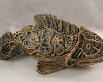 Fish. Ceramic sculpture with hidden storage, handmade, ooak .