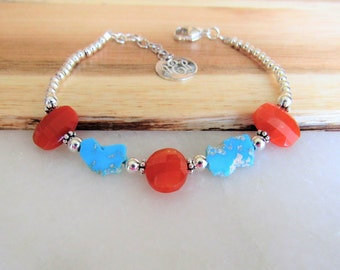 Carnelian and Turquoise Bracelet, Sterling Silver Bracelet, Personalized Bracelet, Turquoise Nugget Bracelet, December Birthstone, Unique