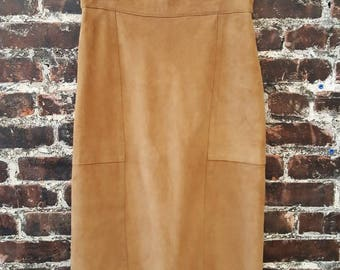 1970s Suede Skirt.  70s Brown Suede Pencil Skirt.  Western Style. 100% Leather, Size Medium.