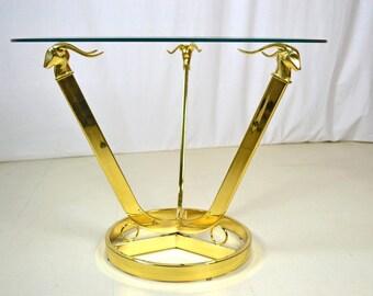 Brass Gazelle Glass Side Table In Style of Maison Jensen