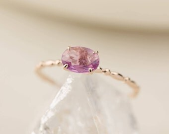 Unheated natural pink sapphire ring in 14k gold, rose gold, white gold.  oval pink~purple sapphire ring, dainty delicate thin ring, can-r101