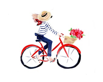 Art Print Wall Art: Parisian Bike Girl {cute art print, cute wall art, pink wall art, pink art print}