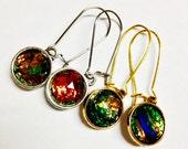 Black Fire Opal Drop Earrings, Black Fire Opal Earrings, Black Fire Opal Dangle Earrings, Black Fire Opal Jewelry, Black Fire Opal Statement