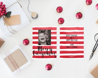 Christmas Cards / Watercolor Red Stripes Holiday Cards