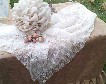Burlap Wedding Tablecloth - Ruffled Tablecloth - Burlap Tiered Tablecloth - Fitted Tablecloth - Rustic Home Decor - Ruffled Burlap Decor