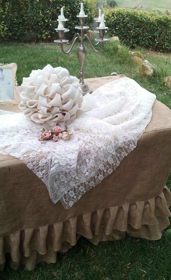 Burlap Wedding Tablecloth Ruffled Tablecloth Burlap Tiered Ruffled Tablecloth