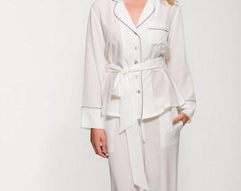 Women's 100% Silk Crepe de Chine Pyjama Set - Long Silk Pyjama Set - Pure Silk Pajamas - Perfect Christmas Gift for Her - Handmade - Ivory