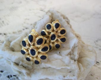 Navy Blue Enamel Gold~Tone Clip On Earrings ~~ Mid Century 1980's Fashionable Classic Style Costume Jewelry ~~ Excellent Condition