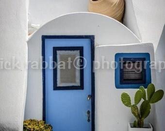 Santorini Door Photo Greece Charm Photo Fine Art Photography European Old World Charm Romantic White Blue Home Decor Wall Art