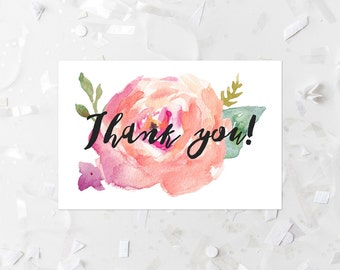 Thank You Card Printable Pink and Peach Floral Thank You Note Watercolor Floral Thank You Flat Card Wedding Thank You Shower Thank You Pink