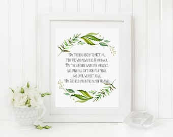 Irish Blessing Printable Green Wreath Quote Print May The Road Rise Up To Meet You Irish Prayer Foliage St. Patrick's Day Blessing 258