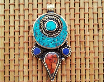 Tibetan pendant Turquoise and Coral pendant Boho Jewelry Gypsy Bohemian Statment Jewelry Vintage Inspired Tribal Jewelry Silver Jewelry