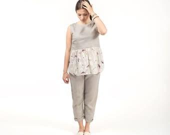 Sleeveless linen top / linen halter top / linen clothing / organic clothing / summer / all sizes