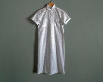 vintage 90's grid pattern midi shirt dress