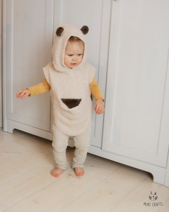 KNITTING PATTERN baby bear hooded poncho with a pocket Sören(toddler and child sizes)