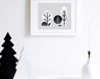 Minimalist Art Print Download, Scandinavian Nursery Decor, Black and White Nursery Wall Art, Monochrome Landscape Art Printable, Nordic Art