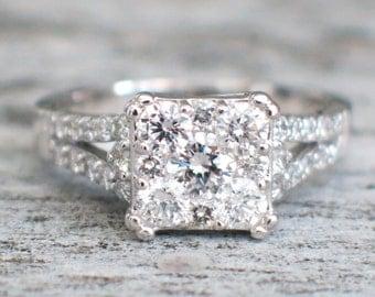 14K White Gold Cluster Diamond Engagement Ring