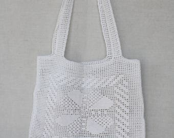 Crochet tote shoulder bag Crocheted Summer beach Vintage handbag Crochetting tote White pouch Shopping bag Retro mesh White purse Market bag