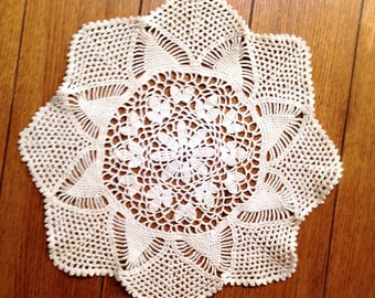 "14"" HAND CROCHETED DOILY is a Large Vintage 14"" Round Ecru Cotton Lace Doily with a Center Daisy & finished in an Octagonal Scallop Design"