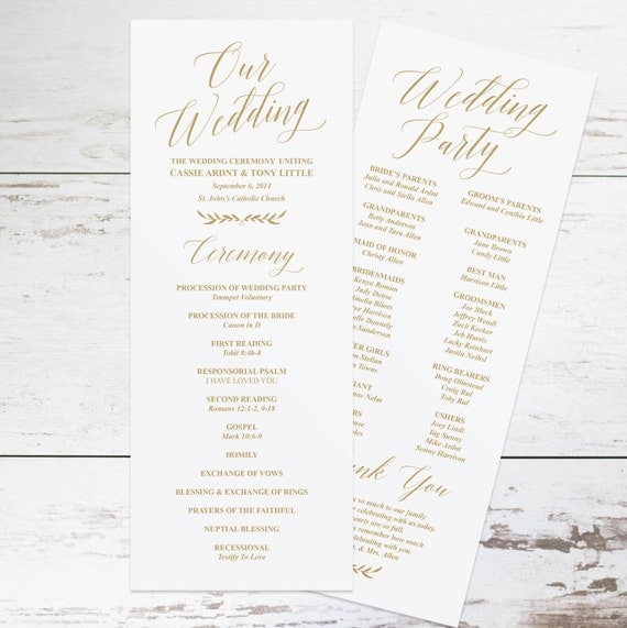 Free Printable Wedding Program Templates: Gold Wedding Programs Wedding Program Template Rustic