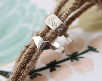 Hand Stamped Ring // Rectangle // Heart // Sterling Silver