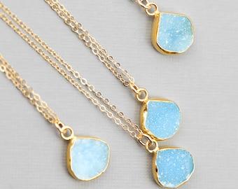 Round Druzy Pendant, Bridesmaid Necklace, Druzy Necklace, Tiny Stone Necklace, Simple Gold Necklace, Bridesmaid Jewelry, Simple Gemstone B34