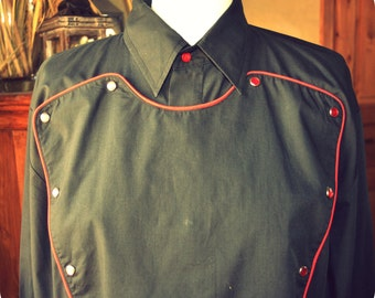 Country Western Frontier Ely Diamond  Shirt ~ Rodeo Unisex Blouse ~ Black Botton down shirt ~ men's clothing size L