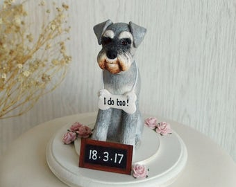 Schnauzer Cake Topper - Schnauzer Wedding Cake Topper - Custom Dog Cake Topper - Dog Wedding Cake Topper - I Do Too Cake Topper - ANY BREED