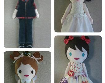 Custom Lookalike Rag Doll. Make your own custom lookalike handmade doll.