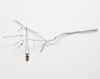 Silver tree branch jewelry hanging display and organizer