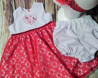 Dress, Red Lace Dress, White Cotton Dress And Nappy Cover Set, Red Big Flower Stretch Headband, Girls Dress, Machine Embroidered