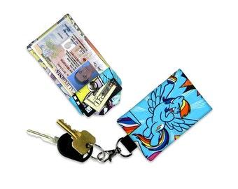 Rainbow Dash My Little Pony Mini Wallet Card Holder Keychain Clear ID Holder Accessory Bag Small Wallet Student ID Badge Cartoon Credit Card