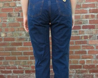 Vintage Authentic Designer Moschino Dark Blue Jeans - Pants - Early 1990s - Women's size 28